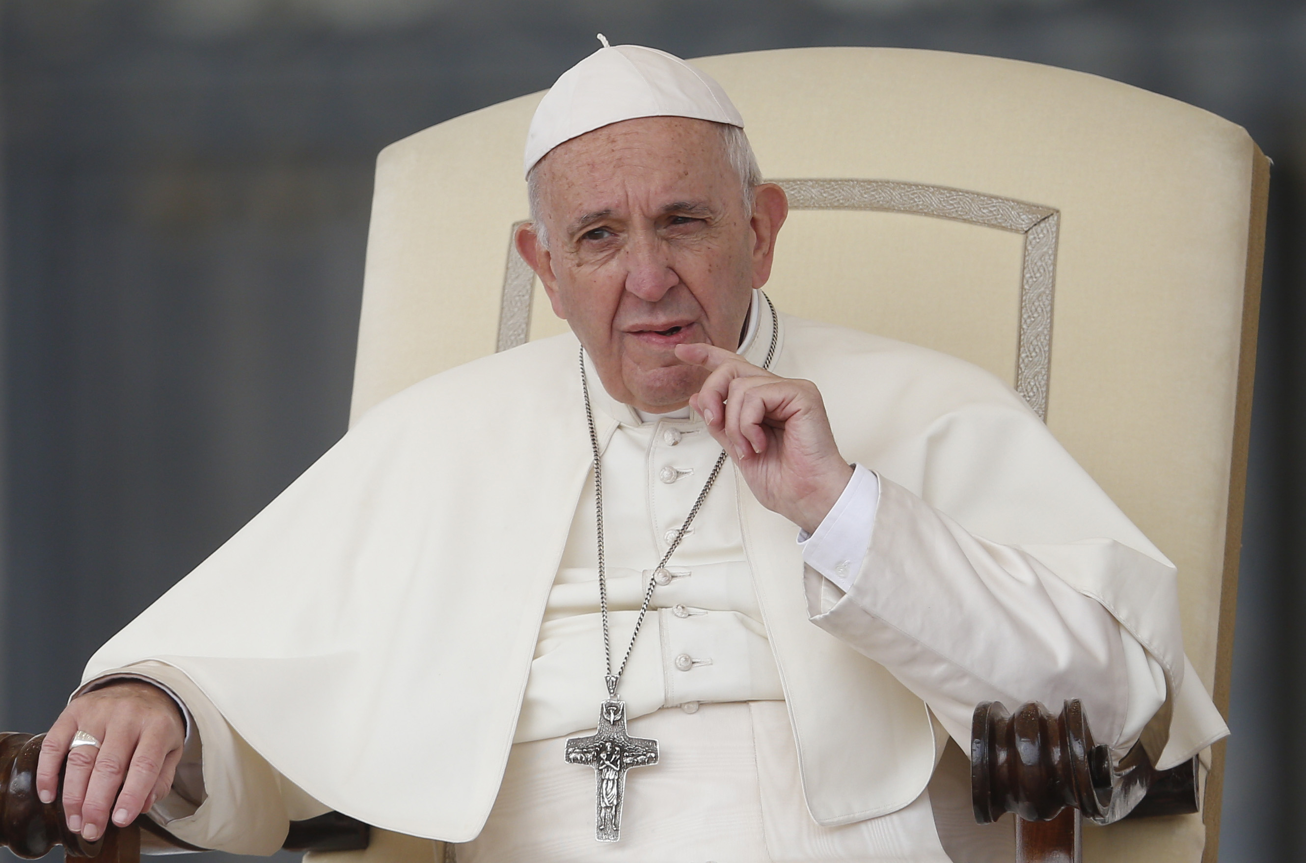 Pope Francis looks on during his general audience in St. Peter's Square at the Vatican Oct. 17. (CNS photo/Paul Haring) See POPE-AUDIENCE-KILL Oct. 17, 2018.