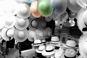 a stall selling hats of all different types