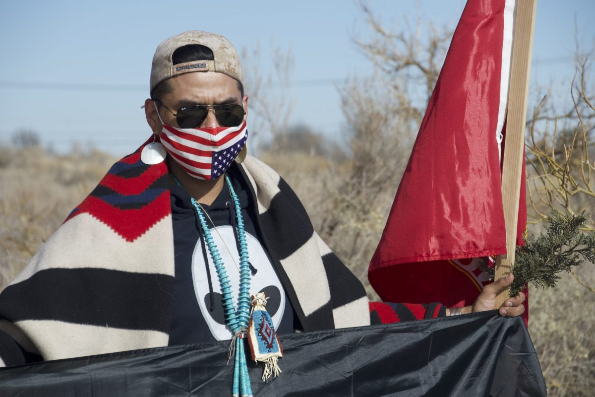 Prayer walk ends at Petroglyphs National Monument, 1/3/21. Photo by Jon Sims, The Paper.