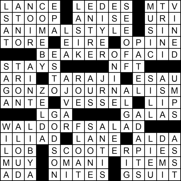 """Solution to the """"It's Time to Get Things Started"""" crossword puzzle"""