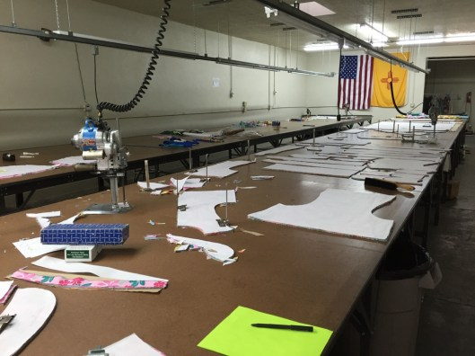 Anotther view of the cutting room at apparel manufacturing boot camp.