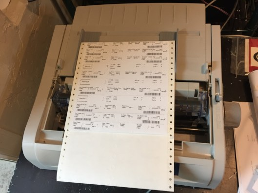 Piece work tickets hot off the dot matrix (yeah) printer.