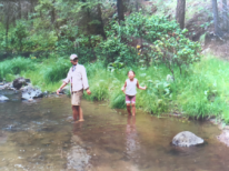 Little sister and I splashing in river in the Gila Mountains