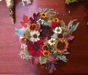 Example of wreath using the above dried zinnias.