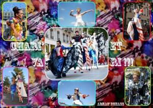 1plaquette Chari' Va et Ri!!!charivari biennale danse 2014 cirque parade animation evenementiel spectacle echassier charivari coloré couleurs festifs fete grec saltimbanques lyon rillieux la pape echasses hauteur