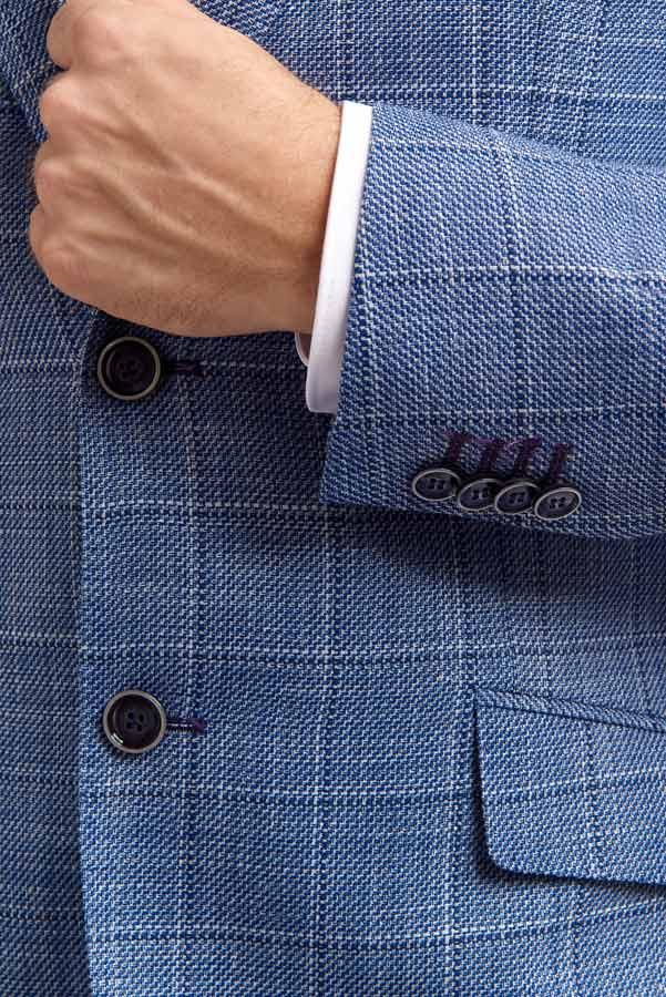 Abrahams Blue Linen mix jacket Detail