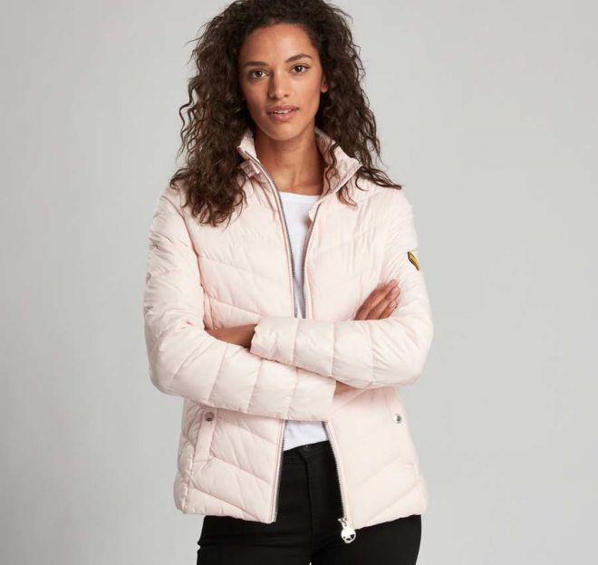 Barbour International Aubern Quilted Jacket Cameo pink detail