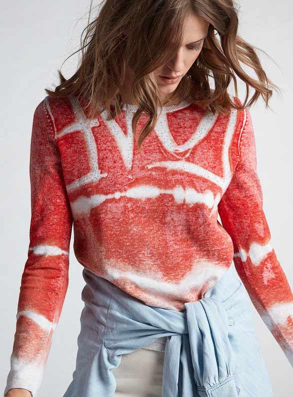 OUI Love print sweater with Rhinestones