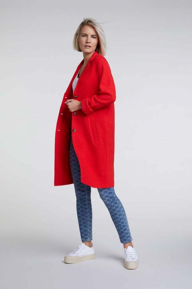 Oui Boiled Wool coat in Flame