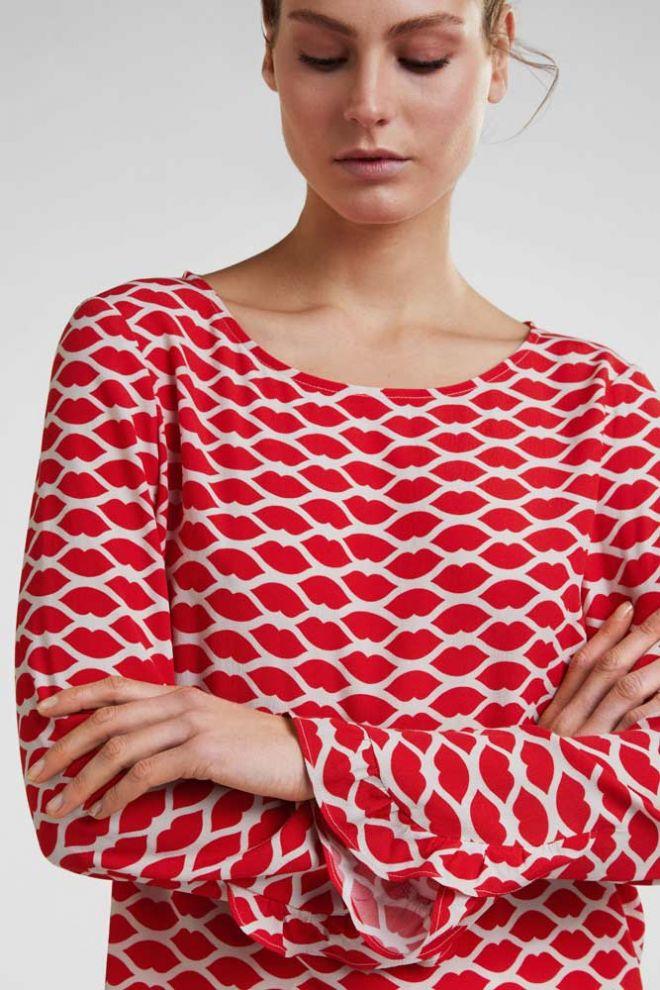 Oui Lip print blouse Detail