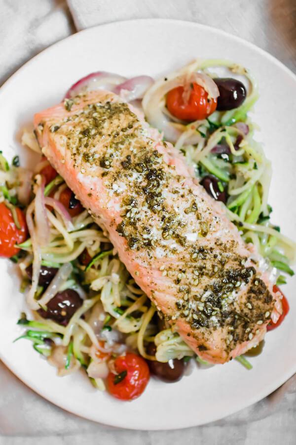 Mediterranean Salmon Sheet Pan Recipe