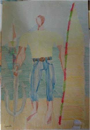 Foto 17. Jangadeiro, lápis sobre canson .50x.70 (RCF).