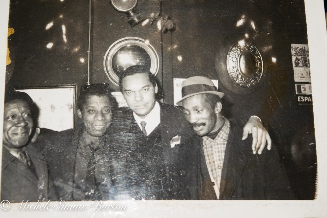 Beauford Delaney, James Baldwin, Johnny Romero, and unnamed man (Photo credit: Ealy Mays)