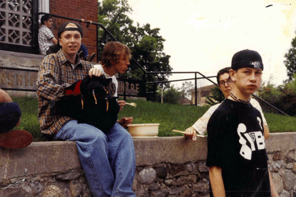 Bree outside the Trenton show, circa 1996. Left to right: Aaron, Mike, Lee and Trevor.