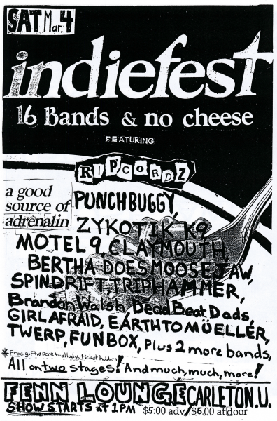 Twerp performing at the Indiefest at Fenn Lounge on March 4th 1993 with Punchbuggy, Zykotik K9, Motel 9, Claymouth, Bertha Does Moosejaw, Spindrift, Triphammer, Brandon Walsh, Dead Beat Dads, Girlafraid, Earthtomueller and Funbox