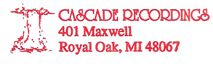 "The first ""Cascade Recordings"" logo, 1995"