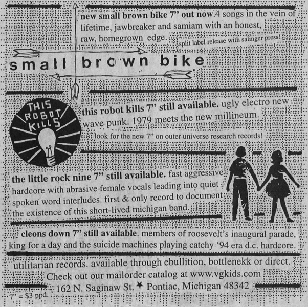 Ad promoting Utilitarian Records' most recent release, the Small Brown Bike &""