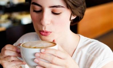 a women having coffee