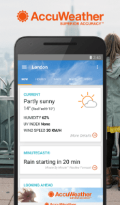 accuweather user interface