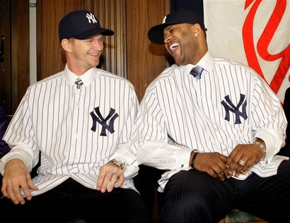 A J Burnett  and  newly acquired teammate    C C Sabathia of  the New  York Yankees ...................