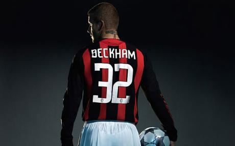 Beckham  in a publicity  pose  after his  loan  agreement  is  confirmed .  The  player is  now  on  loan  to  Italian  soccer  giants  AC  Milan ............picture appears  courtesy of  getty  images  ..........
