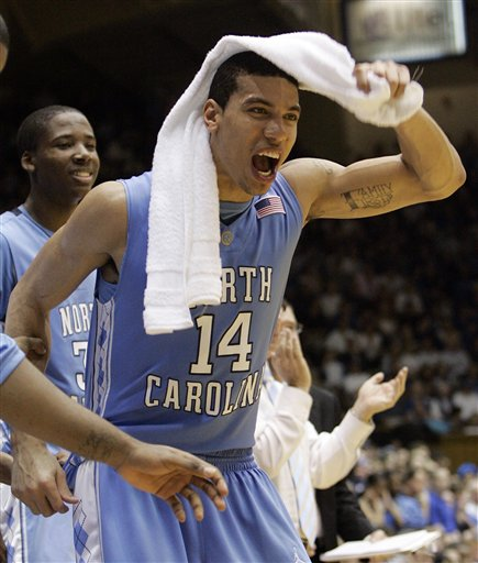 Danny Green of  North Carolina  celebrates  knowing  that  his  team has  defeated  their instate  rivals in their  much heralded ACC matchup ...........