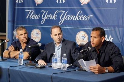Joe Girardi  seated  far  left  ,  manager of  the  New York Yankees along  with  GM  Brian  Cashman  listen  as  Alex Rodriguez reads  from  his  statement  to  the  press.  picture  appears courtesy of  getty images/ Jason Robles .......