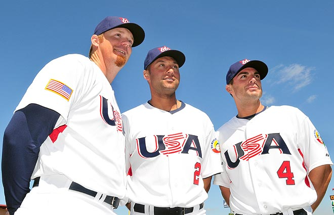 Derek Jeter  and   teammates  pose  for  the  press  in  order  to  publicize  the  commencenment  of  the  World  Baseball  Classic.  picture  appears  courtesy  of  ap/photo /  Matt Irving ............