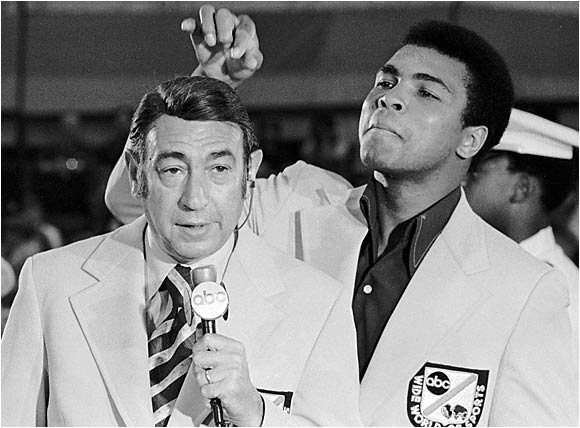 Howard  Cosell   seen  here  with  Muhammad  Ali  at  the  coverage  of the  1972 Munich  Olympics.
