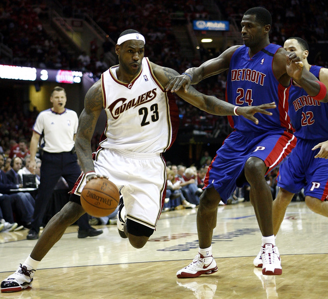 James  of  the  Cavaliers   and   the  Pistons'  Antonio  McDyess  and   Tayshaun  Prince ..................