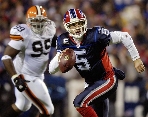 Bills'  quarterback  Trent  Edwards   in  full  stride  as  he  scrambles  out  of  the   pocket  ast the  Cleveland  Browns  in  a   game  played  at   Ralp  Wilson  Stadium  ,  Orchard  Park,  N.Y.    The  Browns   would   go  on  to  defeat   Buffalo   29-27  on the  day.    picture  appears  courtesy  of  ap/photo  /  Don  Heupel  ...............................