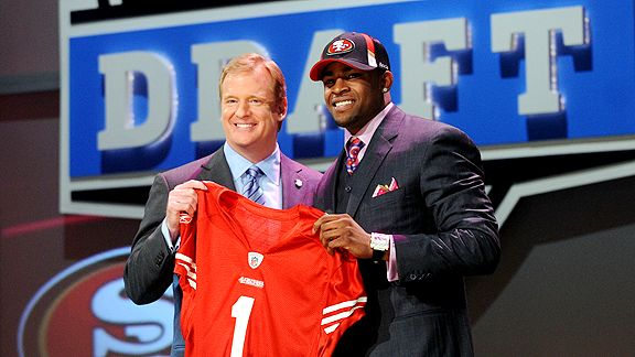 NFL Draft  Day and  a  proud   Michael Crabtree  stands  alongside  NFL  Commissioner  Roger Goodell .     The  upshot  of   it all   is  that the  player  still  remains  unsigned and is  a  free  agent.   picture appears   courtesy  of  ap/photo/   Phil   Pierce  ...................