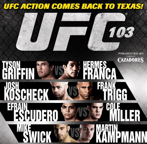 UFC  103   .   The  promotional   print  model   for  the  event  on   Saturday  19th  September   2009  held  at the American  Airlines   Arena  ,  Dallas  ,  Texas,.   copyrighted  material    @  all rights  reserved   .............