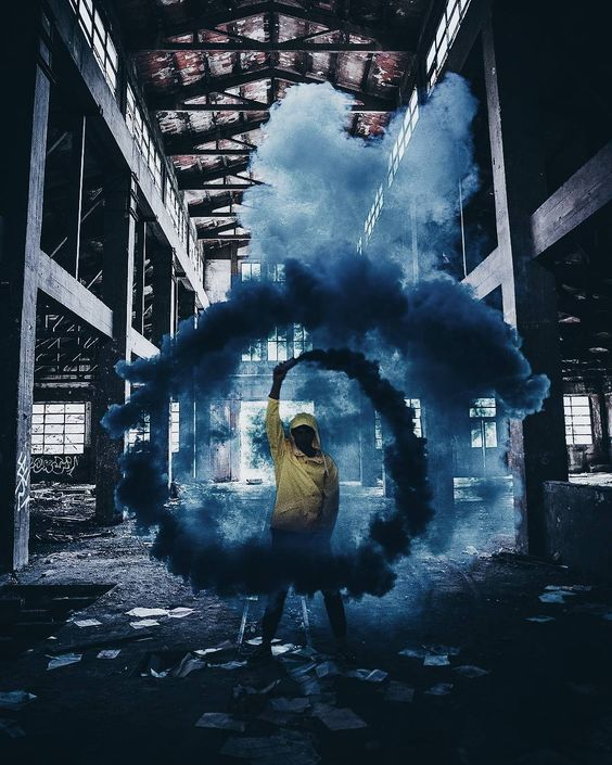 blue smoke and yellow
