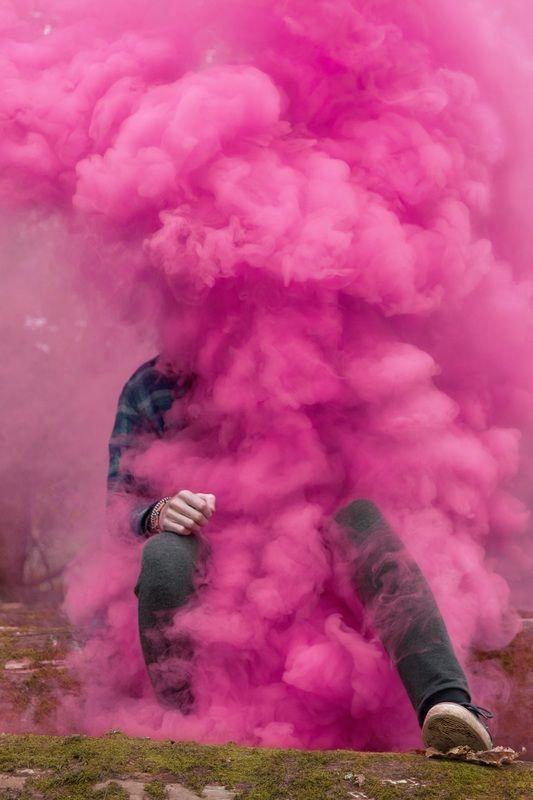 Pink smoke bomb