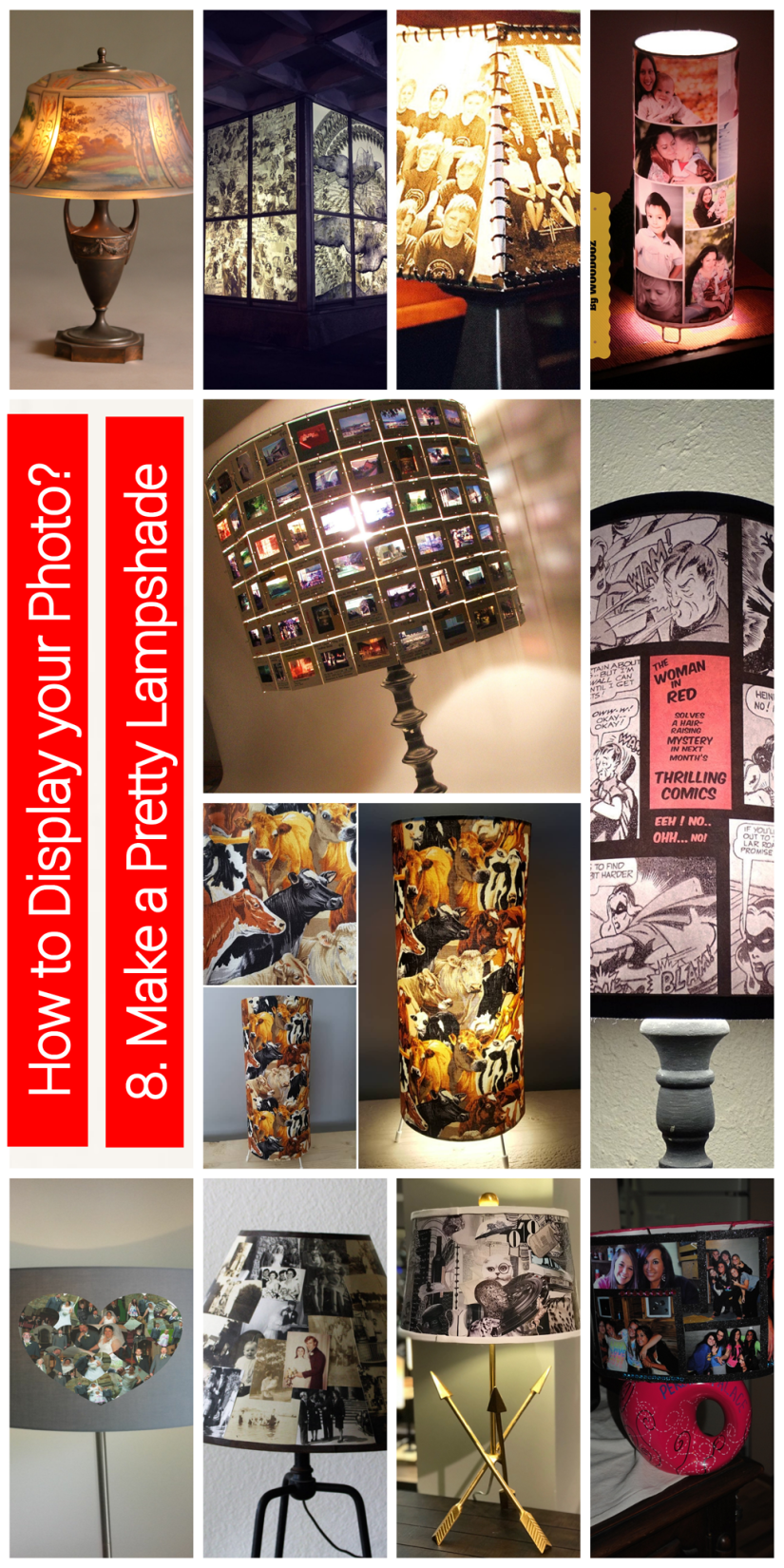 how to display  photo collage - lampshade photo collage