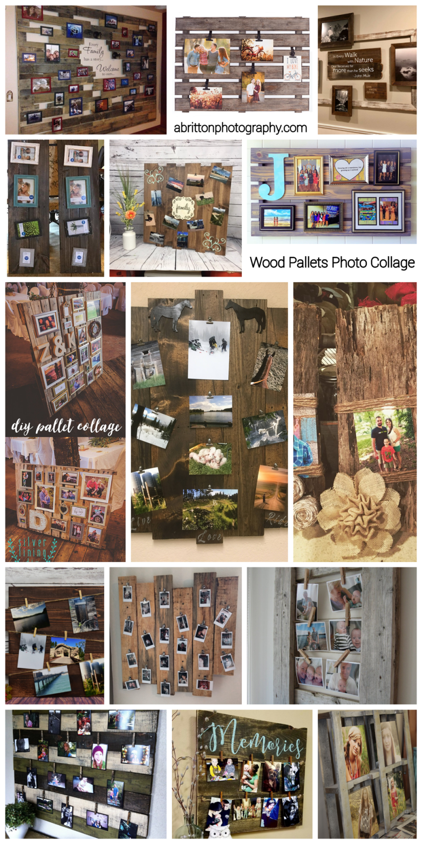 wood pallets photo collage ideas
