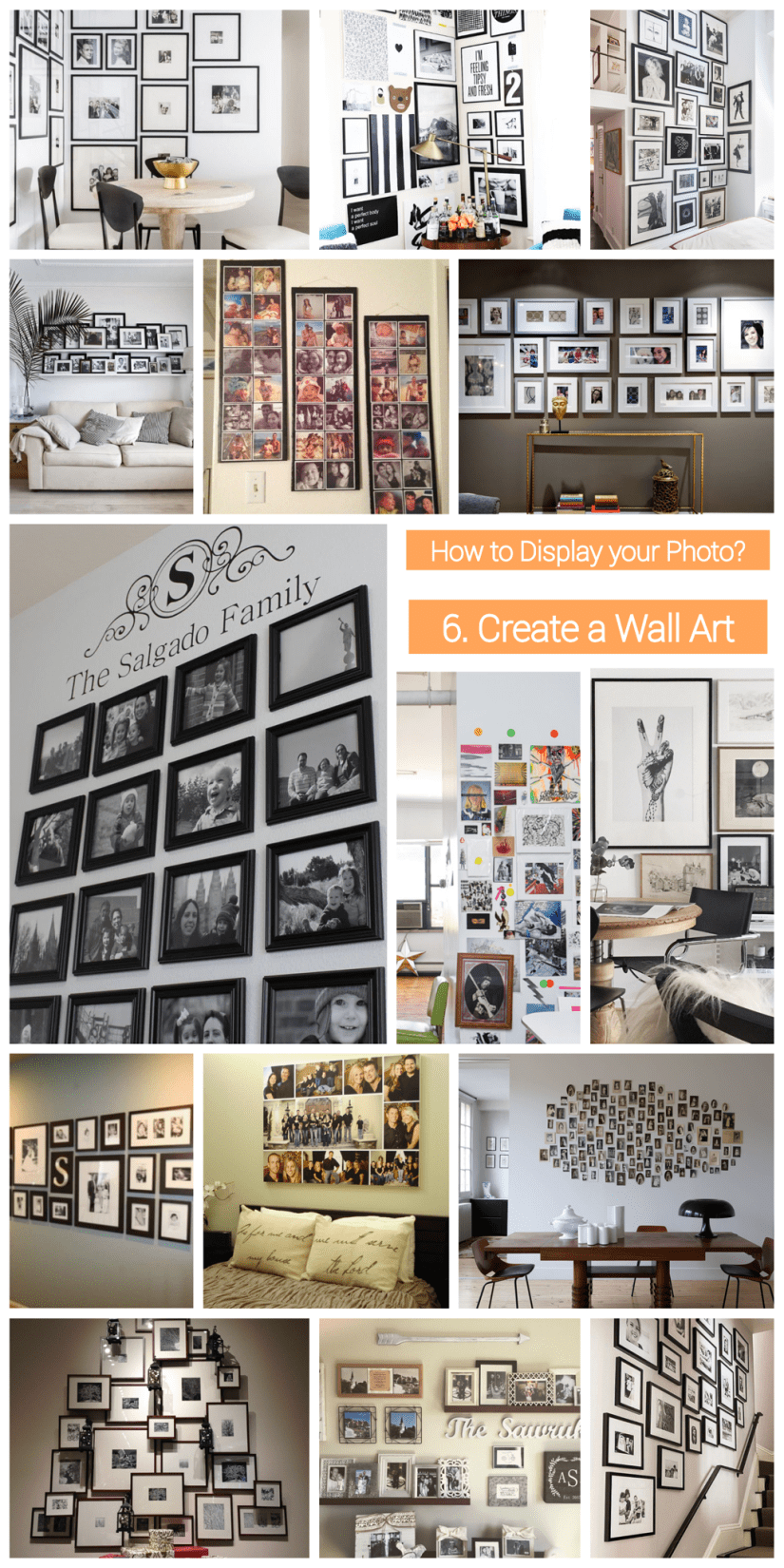 how to display  photo collage - wall collage