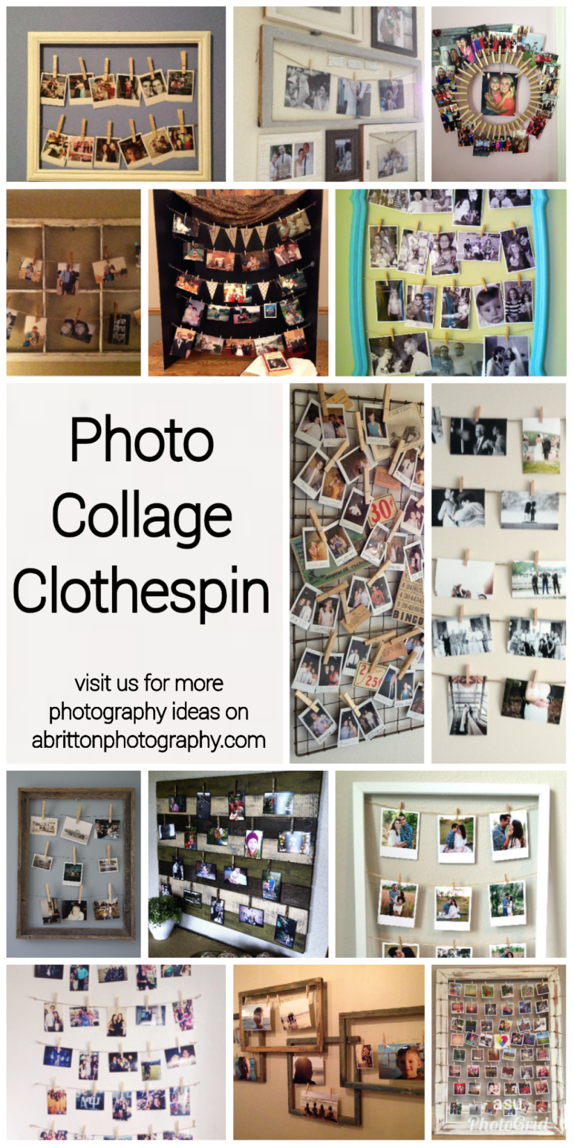 clothespin photo collage ideas