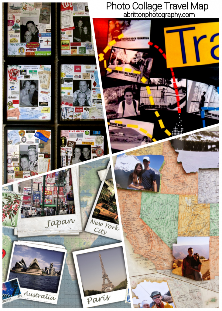 travel map photo collage ideas