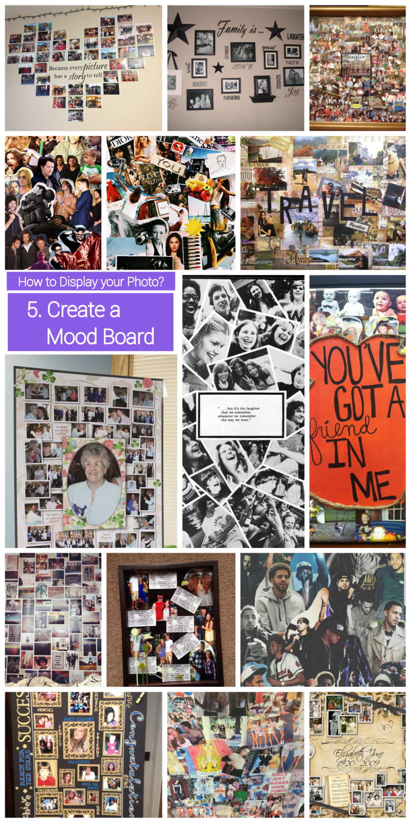 how to display  photo collage - mood board