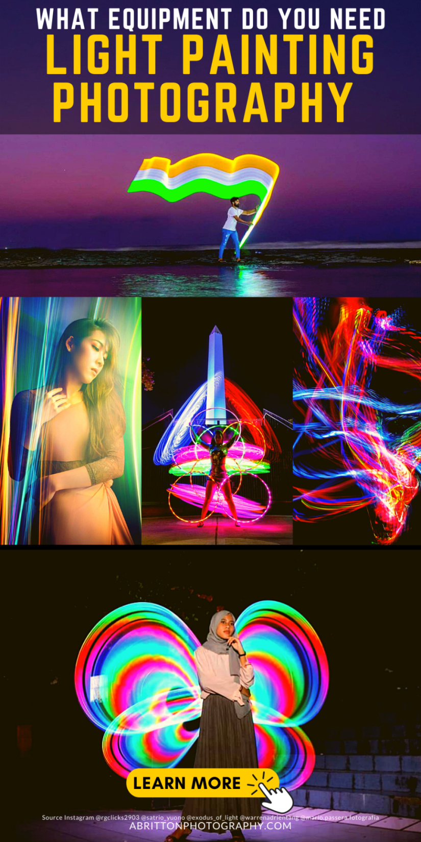 Equipment of light painting photography camera settings