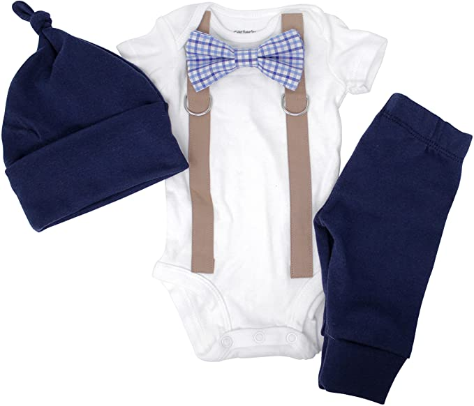 Newborn Photography Props Boy Coming Home Outfit, Bow tie, and Suspender Set