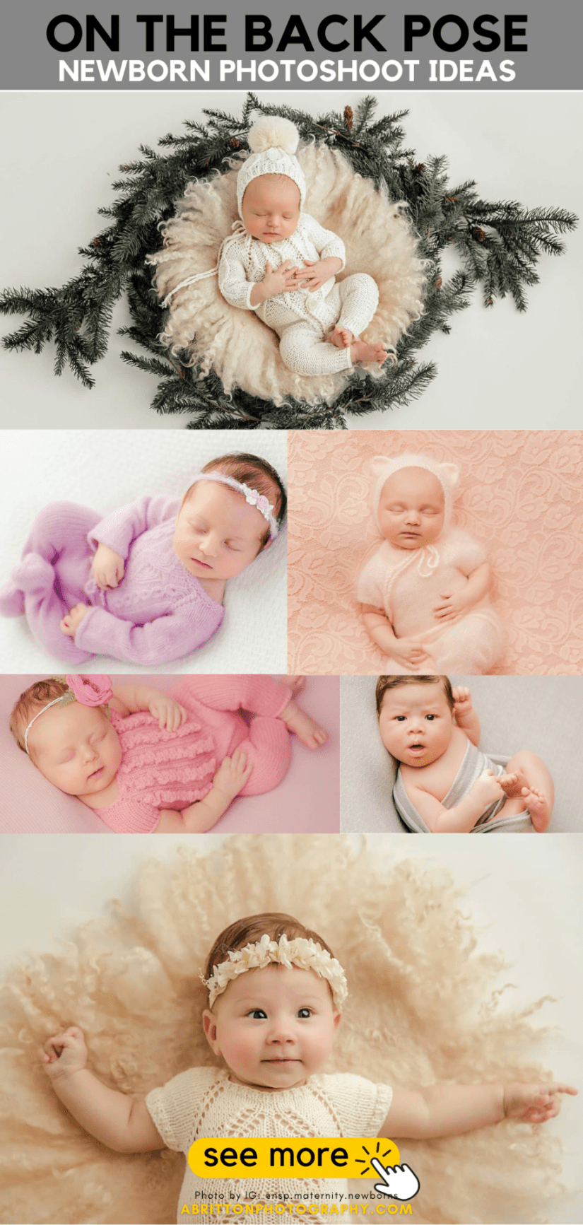 Newborn Photoshoot Poses and Ideas - ON THE BACK ideas