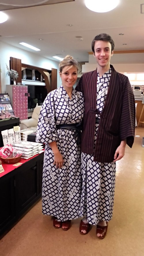 Hakone Japan Mt Fuji kimono robes in our ryokan