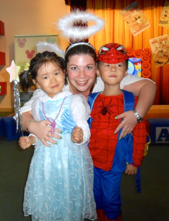 Celebrating Halloween in China with some students.