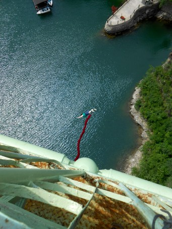 There goes Christina! Bungee jumping at LongQing Gorge.