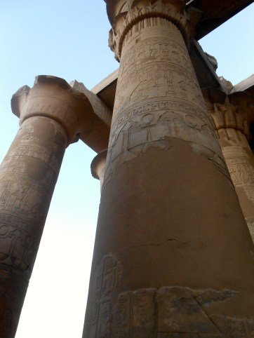 Some of the columns have been restored. The damaged areas are replaced with smooth rock or concrete.