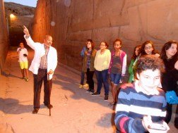 Mr. Hassan explains the carvings. This one was of Thoth, the god of wisdom and healing.