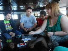 Mr. A didn't know how to play Uno, so we all had to teach him how.